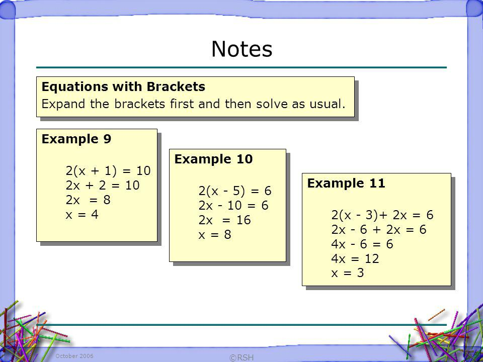 Notes Equations with Brackets