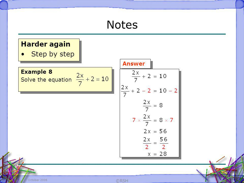 Notes Harder again Step by step Answer Example 8 Solve the equation