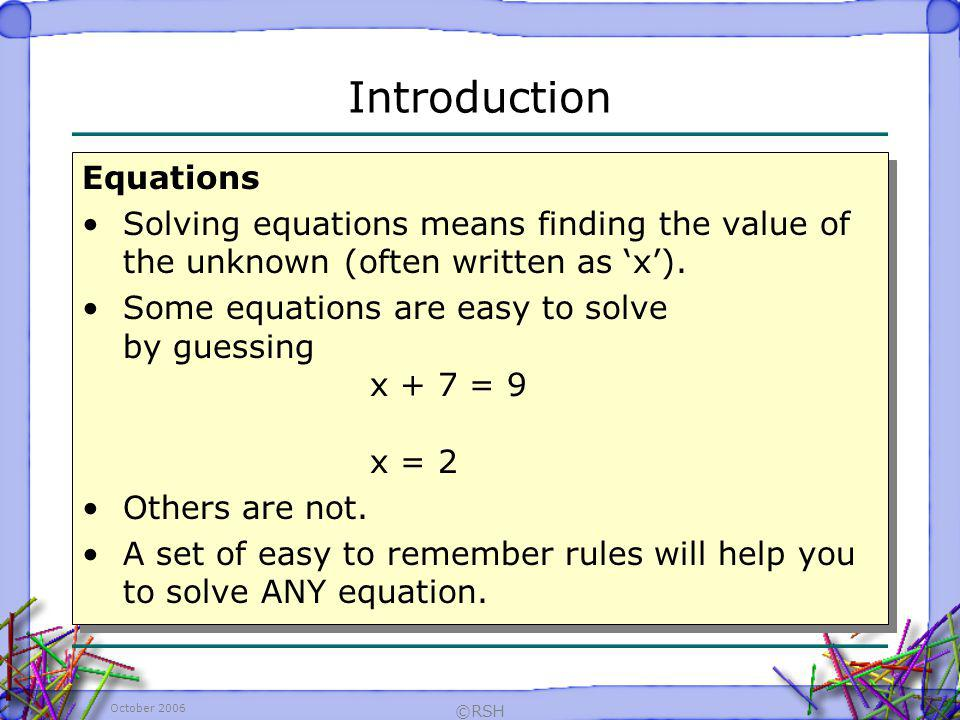 Introduction Equations
