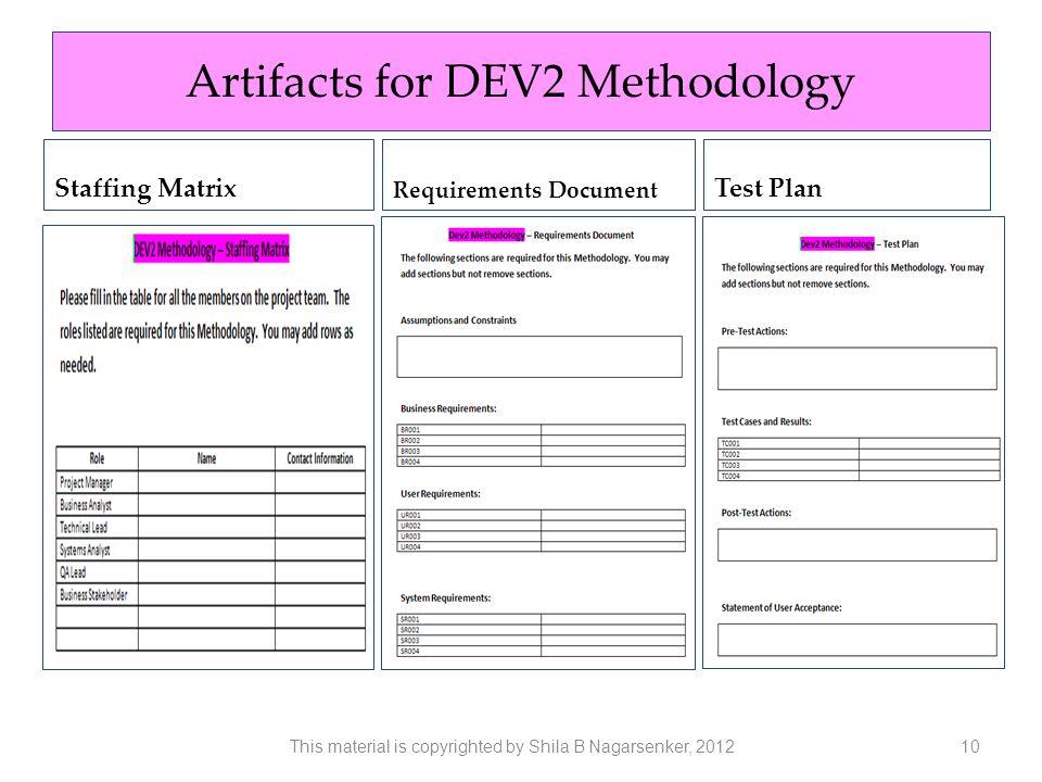 Artifacts for DEV2 Methodology