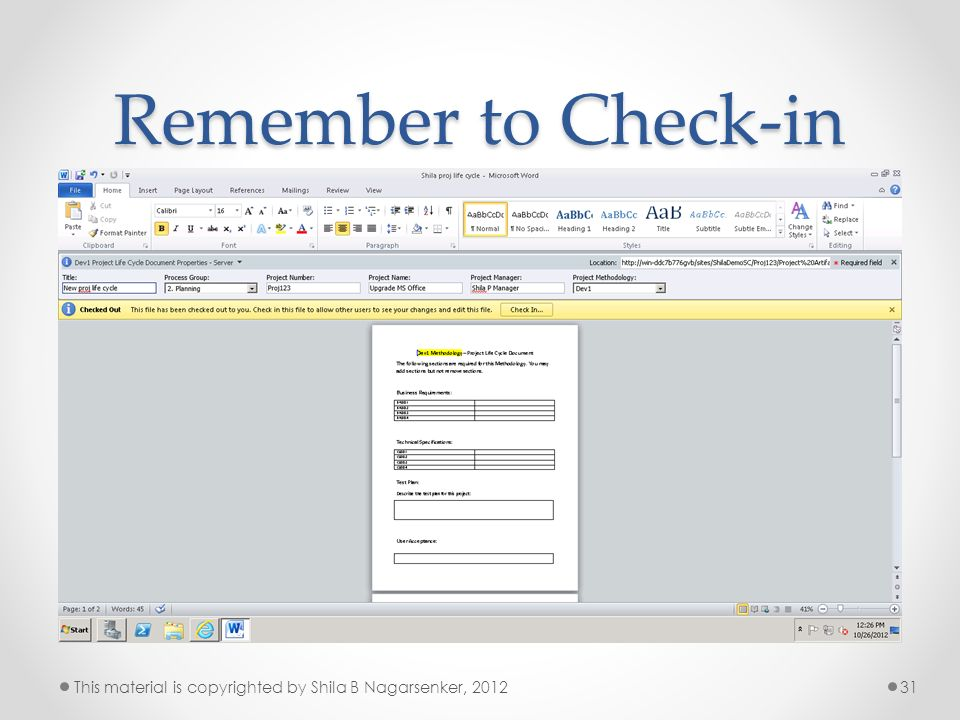 Remember to Check-in This material is copyrighted by Shila B Nagarsenker, 2012