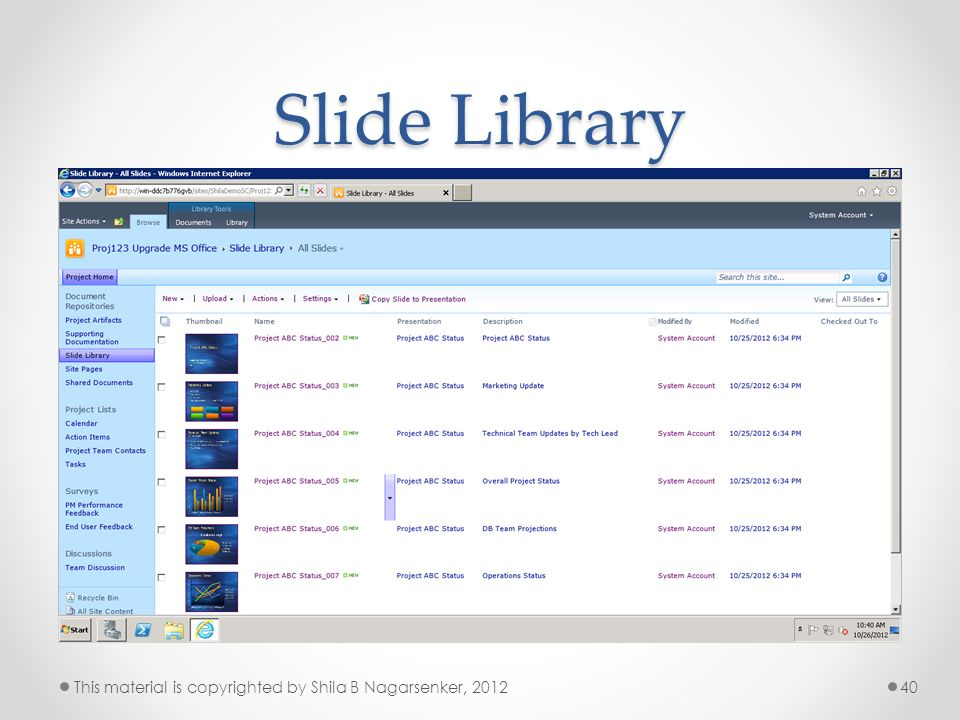 Slide Library This material is copyrighted by Shila B Nagarsenker, 2012