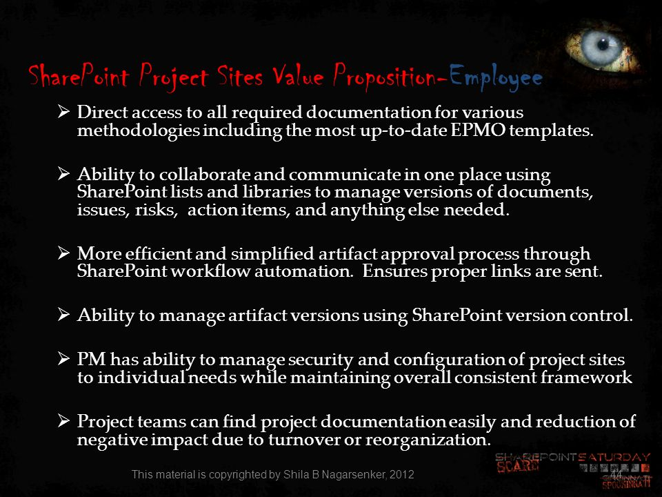 SharePoint Project Sites Value Proposition-Employee