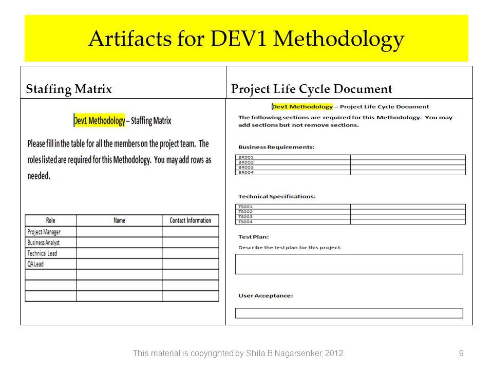 Artifacts for DEV1 Methodology