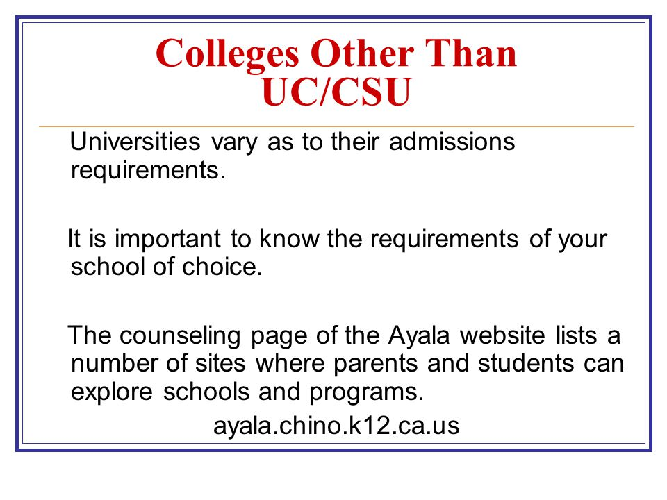Colleges Other Than UC/CSU