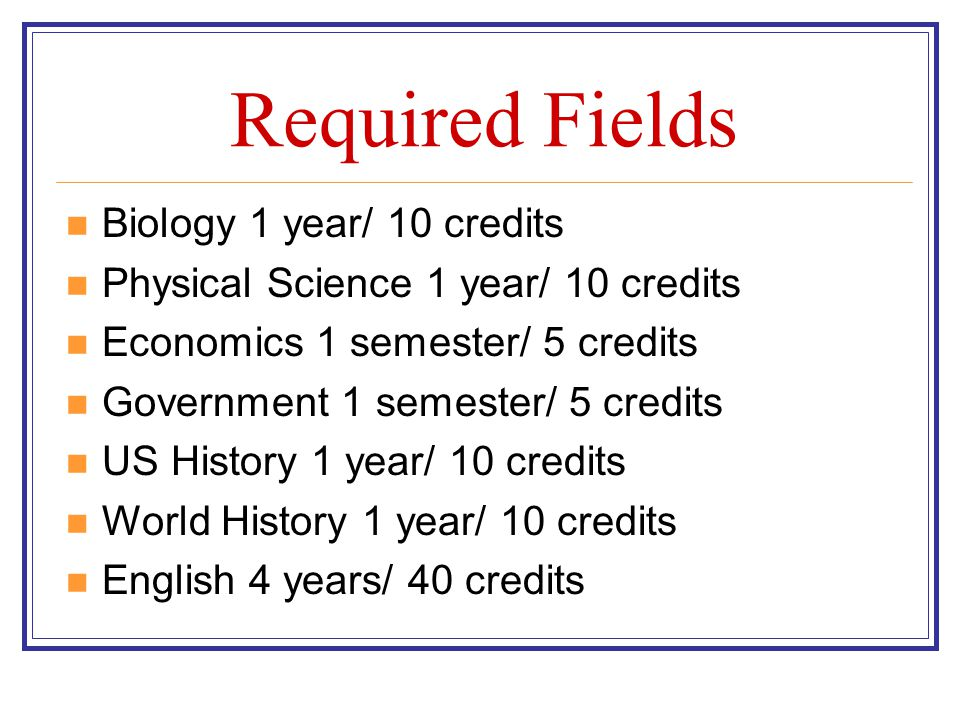 Required Fields Biology 1 year/ 10 credits
