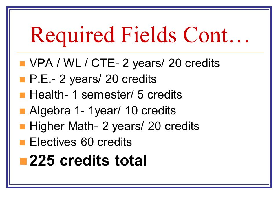 Required Fields Cont… 225 credits total