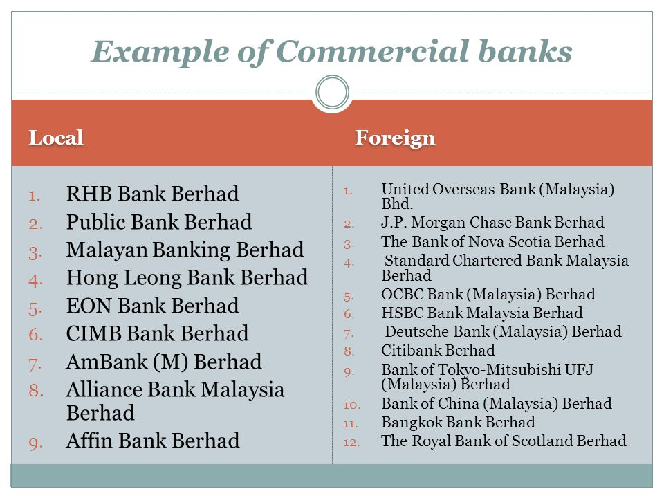 Example of Commercial banks