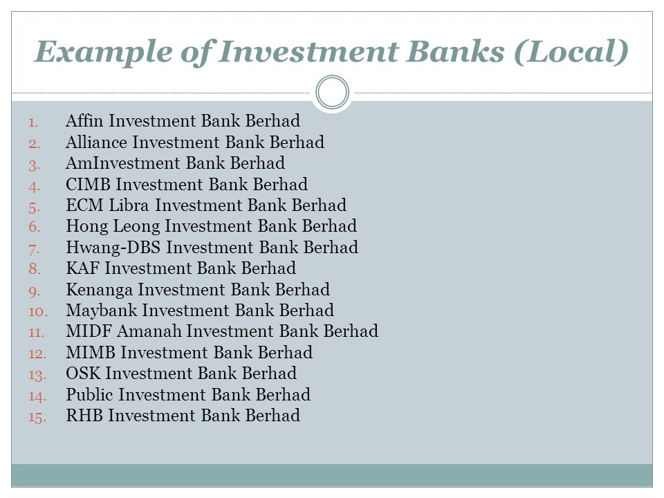 Example of Investment Banks (Local)
