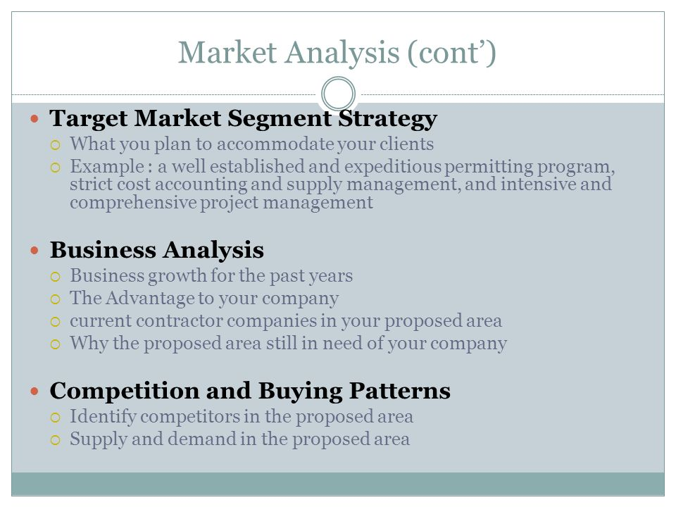 Market Analysis (cont')