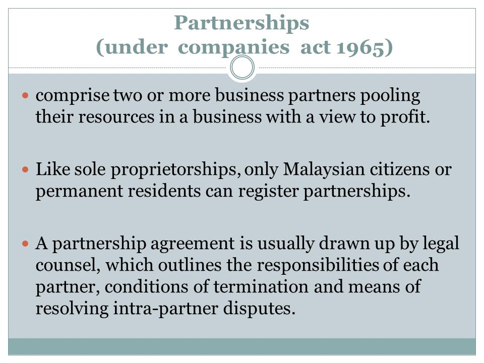 Partnerships (under companies act 1965)