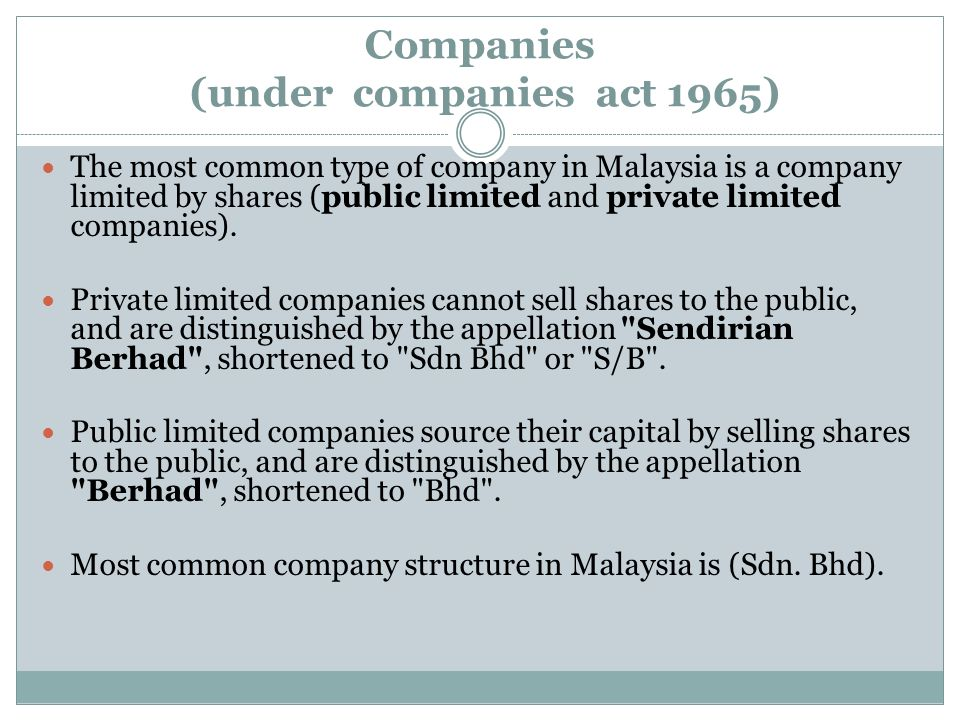 Companies (under companies act 1965)
