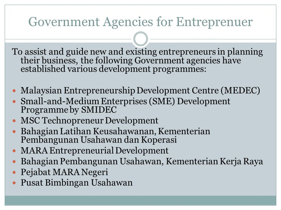 Government Agencies for Entreprenuer