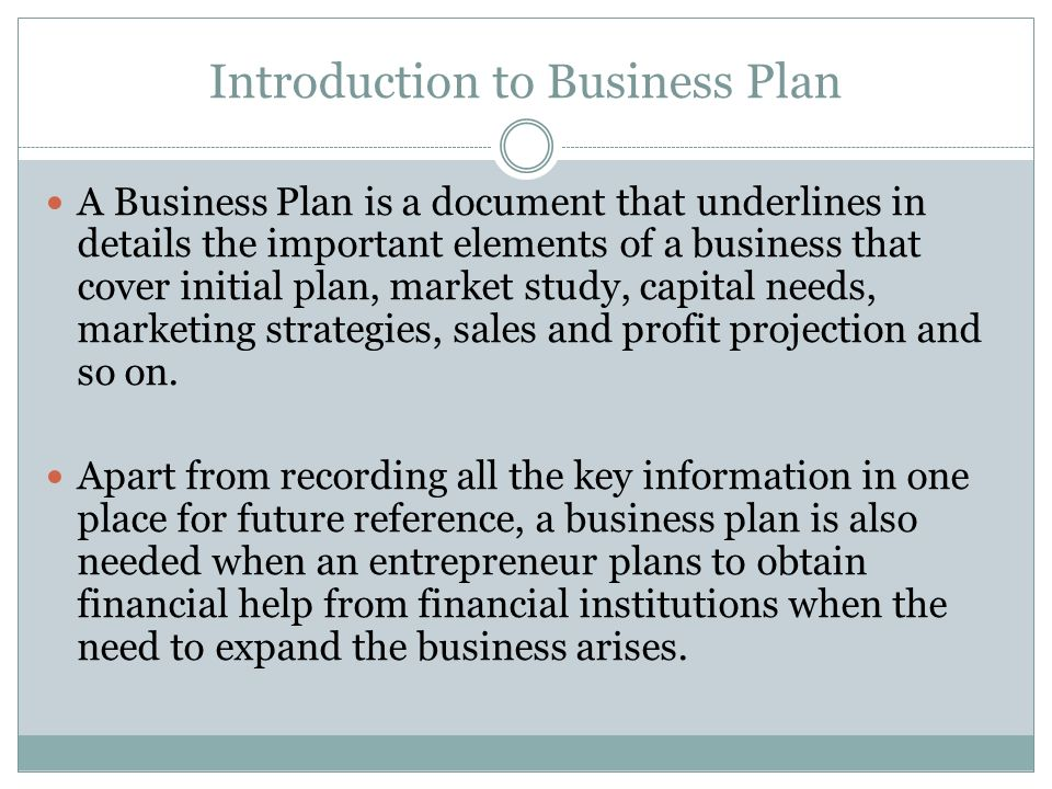 Introduction to Business Plan