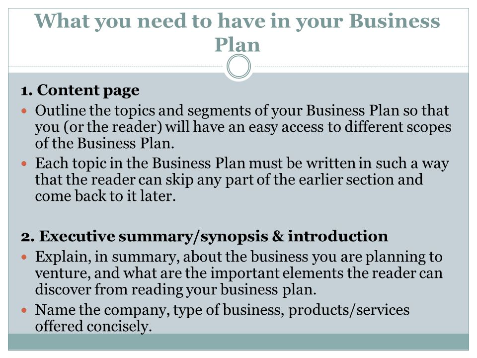 What you need to have in your Business Plan