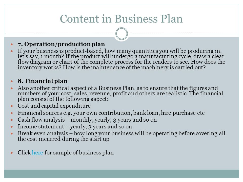 Content in Business Plan