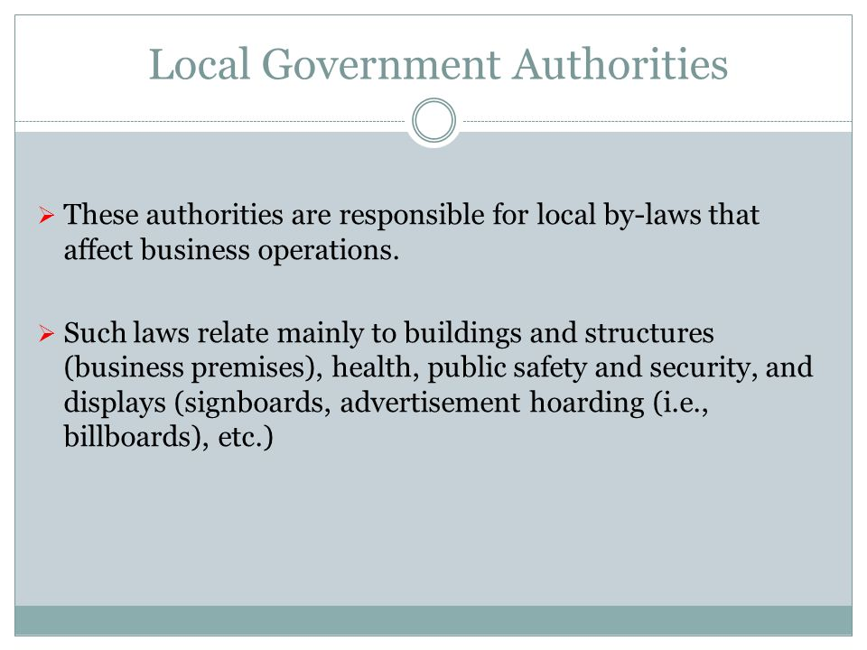 Local Government Authorities