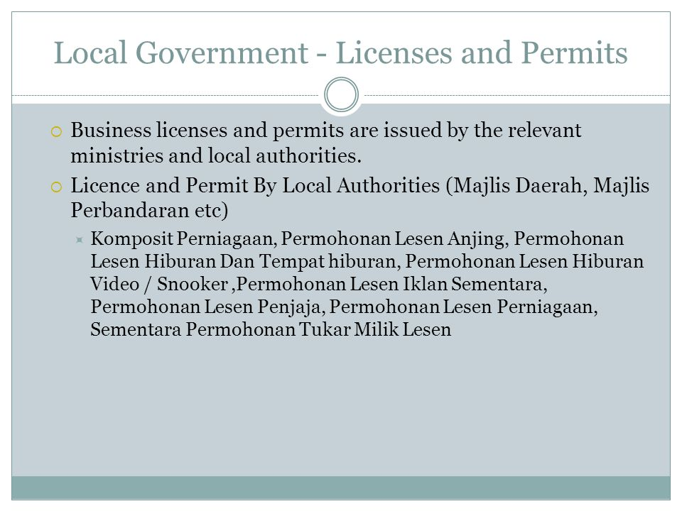 Local Government - Licenses and Permits
