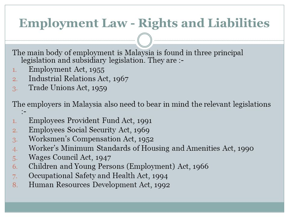 Employment Law - Rights and Liabilities