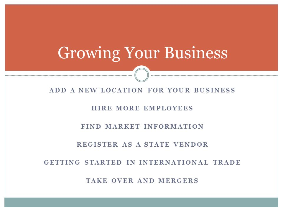 Growing Your Business Add a new location for your business
