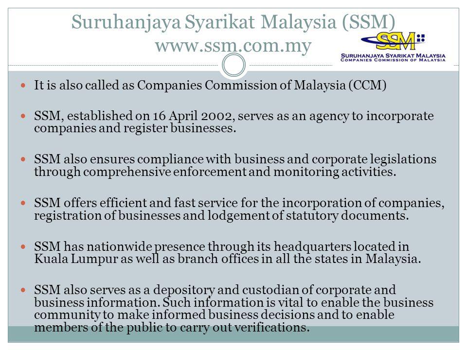 Suruhanjaya Syarikat Malaysia (SSM) www.ssm.com.my
