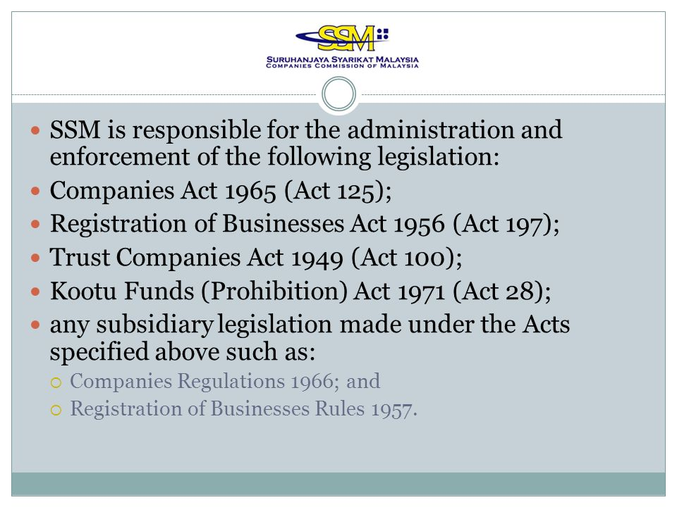 Registration of Businesses Act 1956 (Act 197);