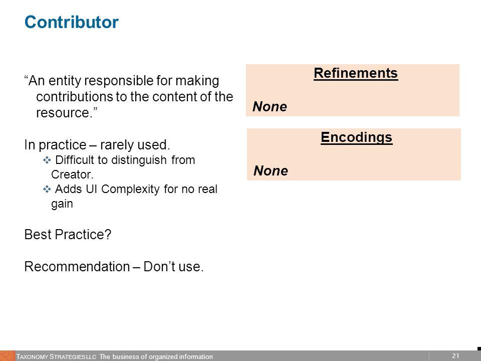 Contributor Refinements None Encodings None