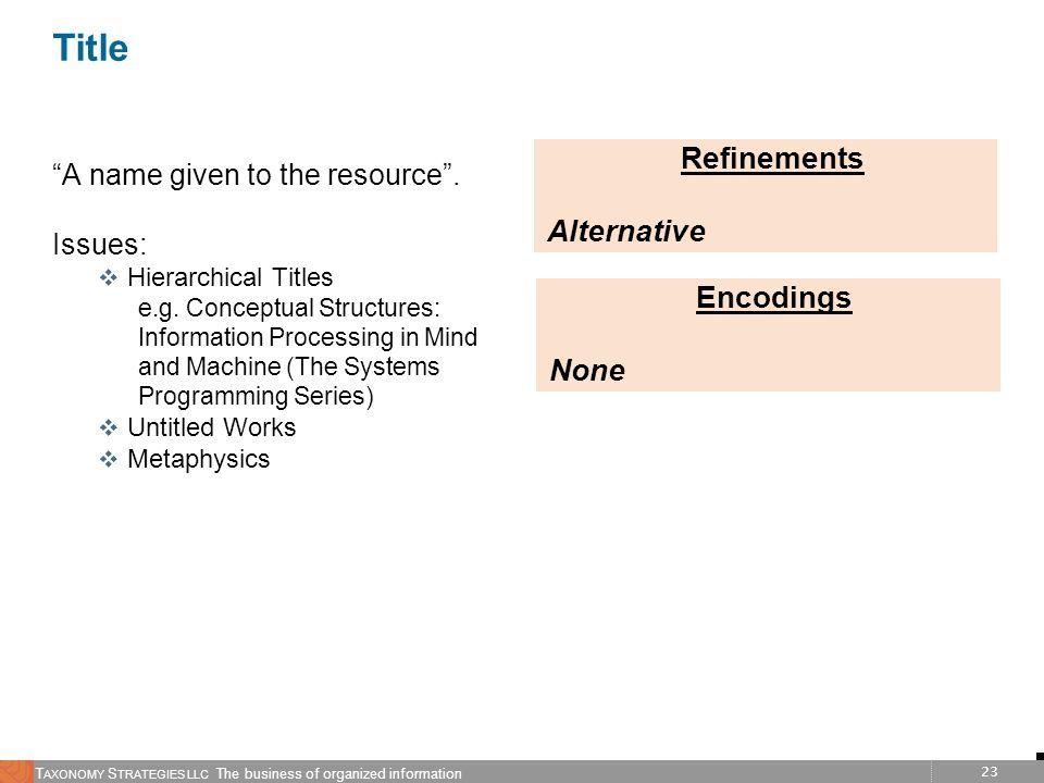 Title Refinements Alternative Encodings None