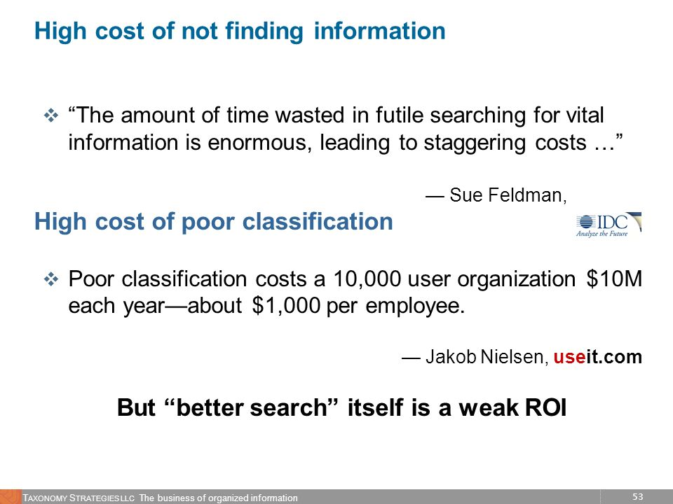 High cost of not finding information