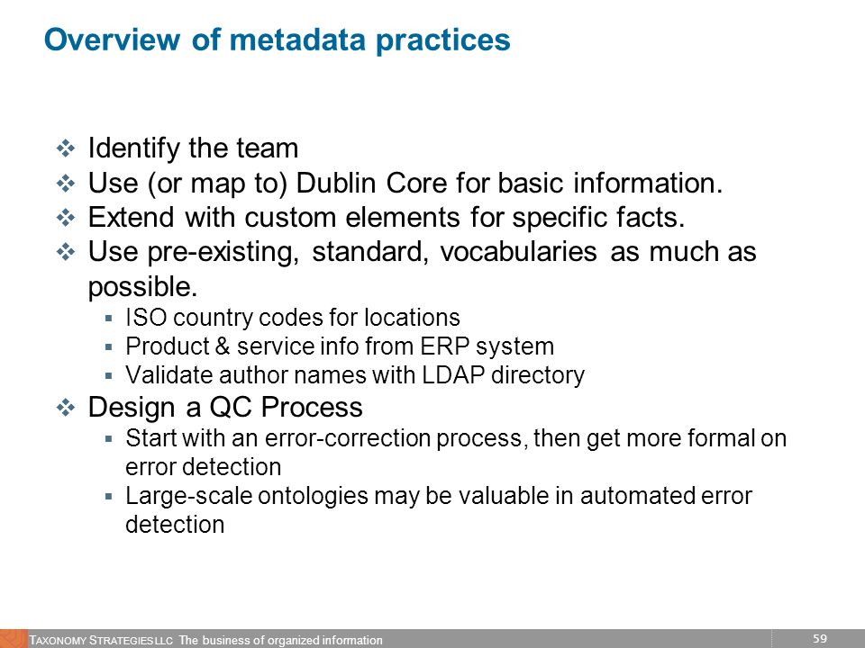 Overview of metadata practices