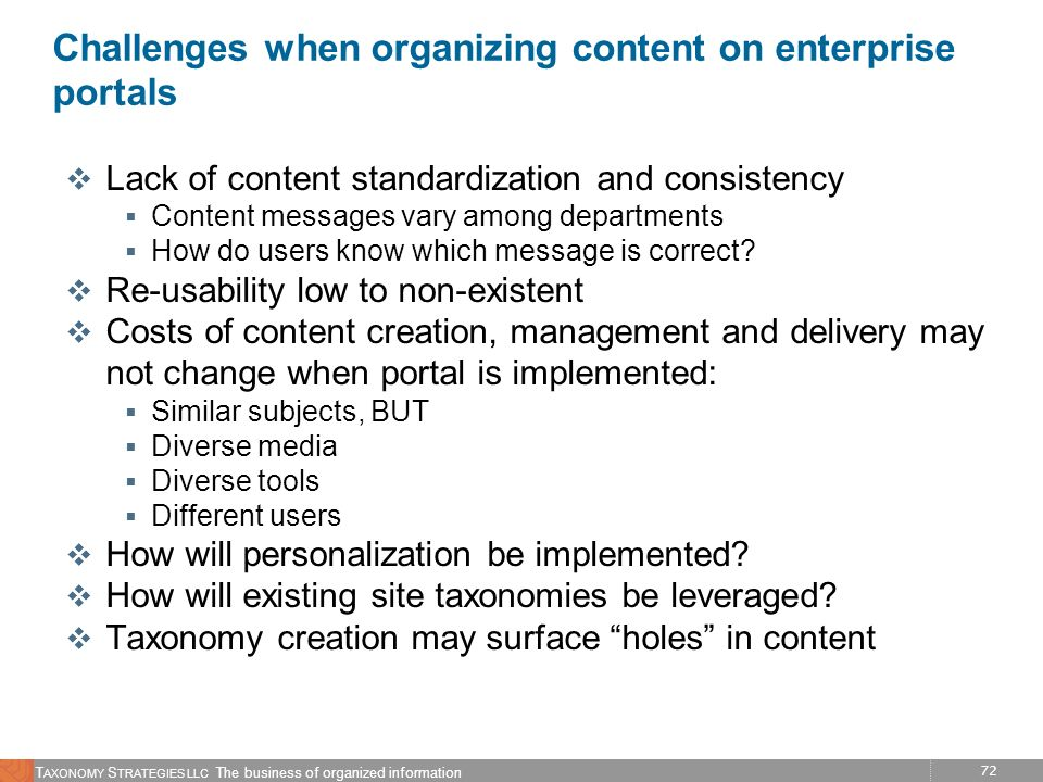Challenges when organizing content on enterprise portals