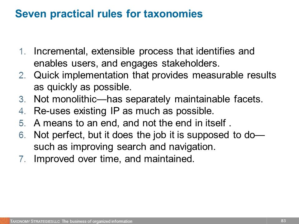 Seven practical rules for taxonomies
