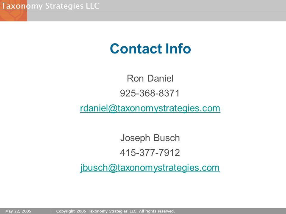 Contact Info Ron Daniel. 925-368-8371. rdaniel@taxonomystrategies.com. Joseph Busch. 415-377-7912.