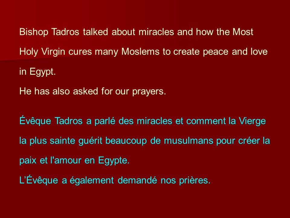 Bishop Tadros talked about miracles and how the Most Holy Virgin cures many Moslems to create peace and love in Egypt.