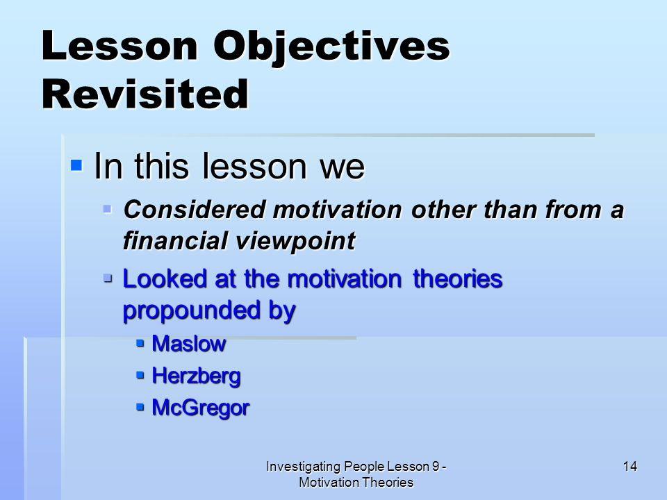 Lesson Objectives Revisited