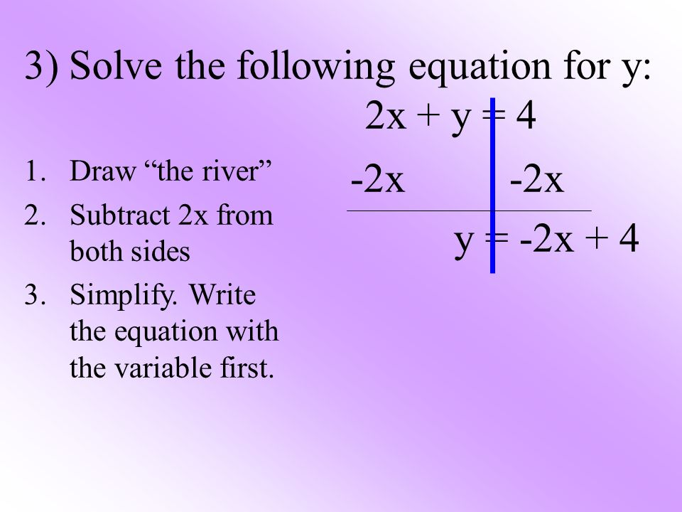 3) Solve the following equation for y: 2x + y = 4