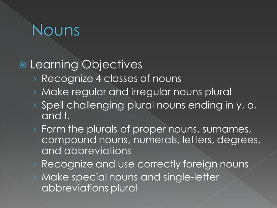 Nouns Learning Objectives Recognize 4 classes of nouns