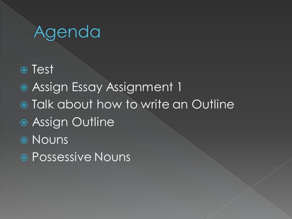 Agenda Test Assign Essay Assignment 1