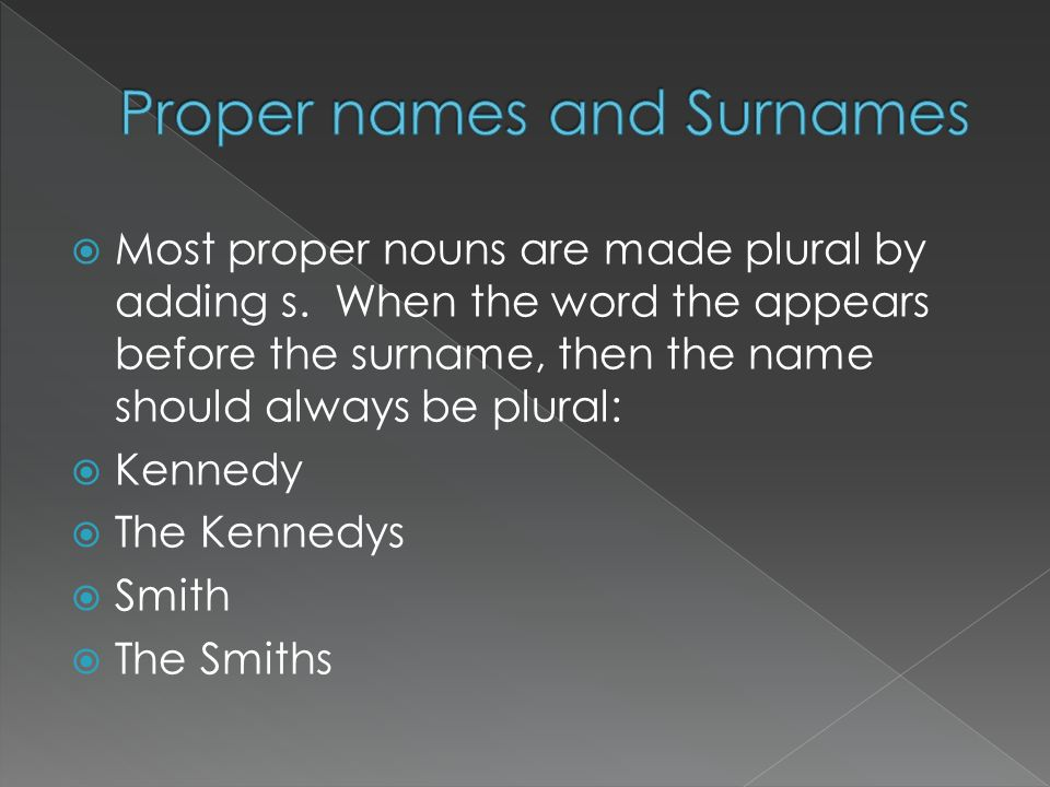 Proper names and Surnames