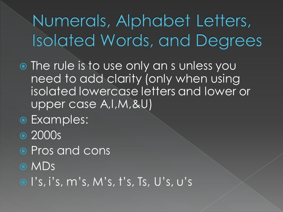 Numerals, Alphabet Letters, Isolated Words, and Degrees