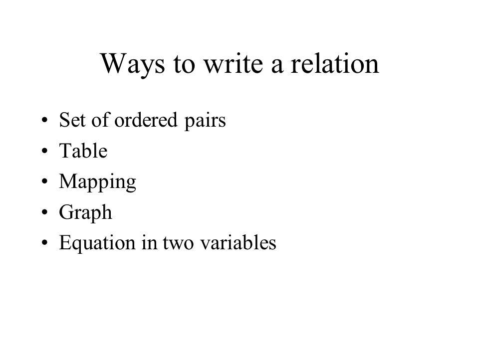 Ways to write a relation