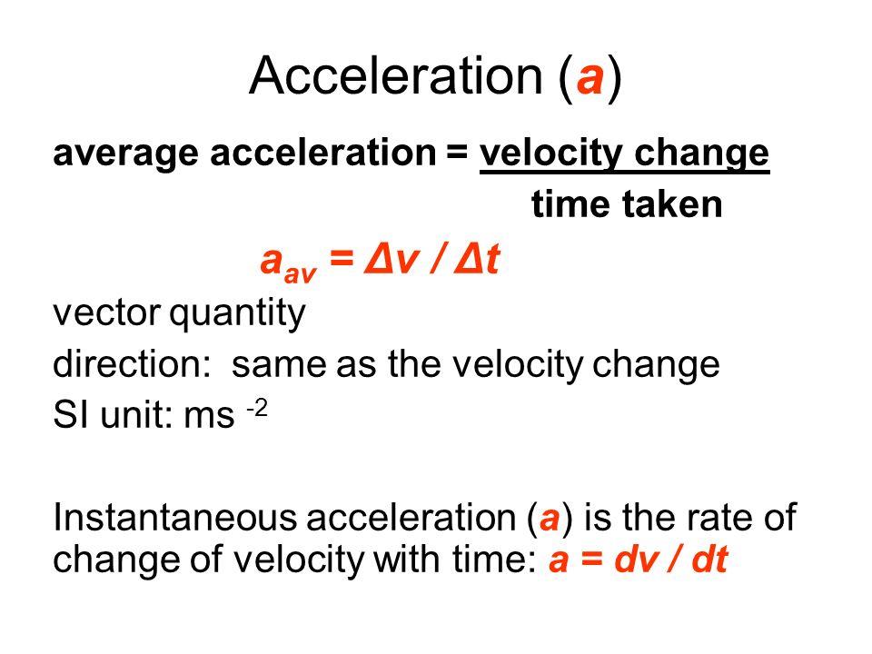Acceleration (a) average acceleration = velocity change time taken