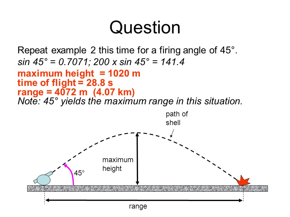 Question Repeat example 2 this time for a firing angle of 45°.