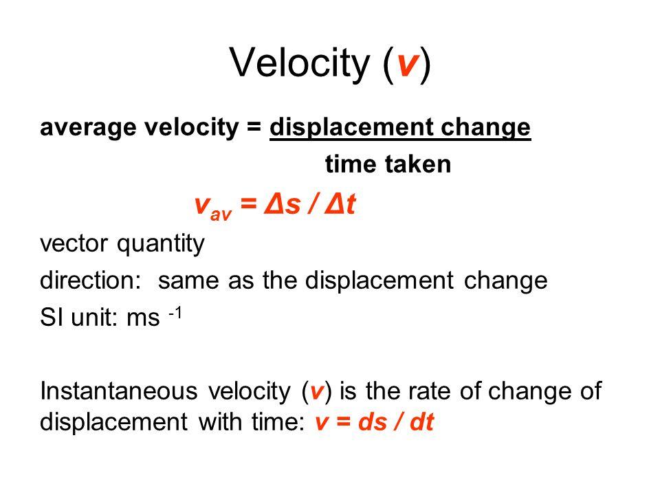 Velocity (v) average velocity = displacement change time taken