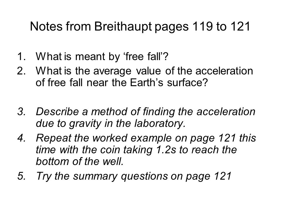 Notes from Breithaupt pages 119 to 121