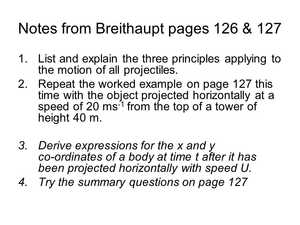 Notes from Breithaupt pages 126 & 127
