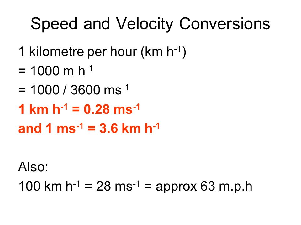 Speed and Velocity Conversions
