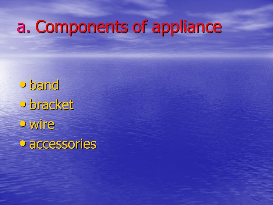 a. Components of appliance
