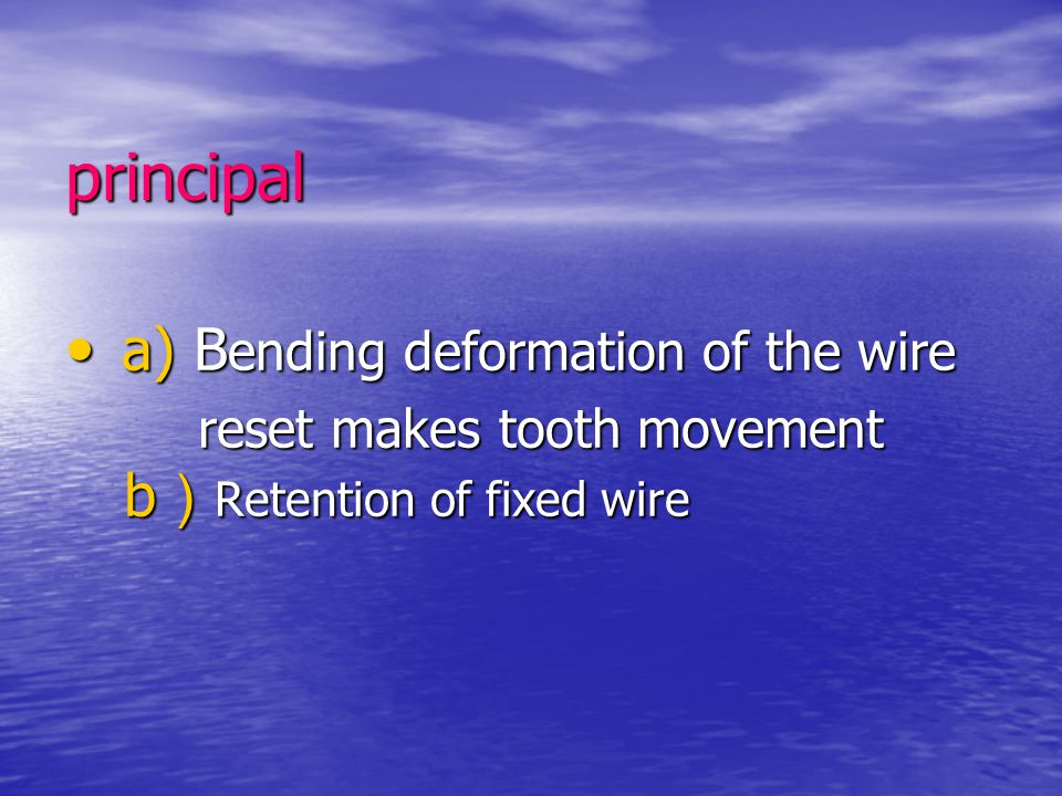 principal a) Bending deformation of the wire
