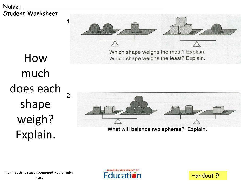 How much does each shape weigh Explain.
